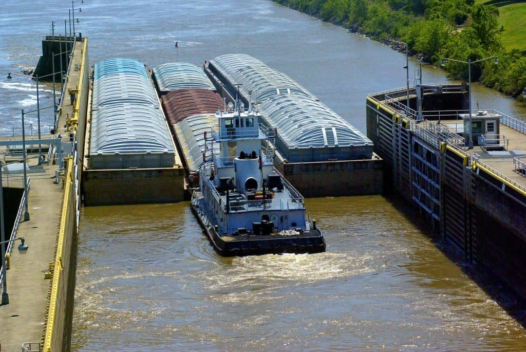 tug barges exiting murray lock, barges, lock